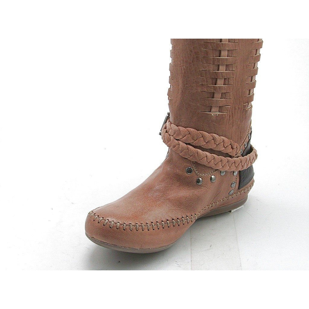 small or large boot with studs in and brown leather