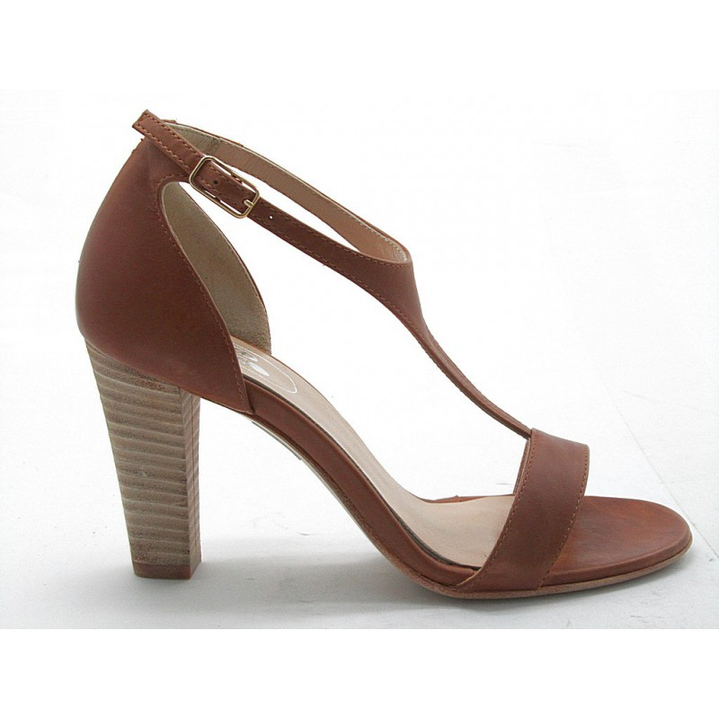 Open shoe in tan leather - Available sizes: 42