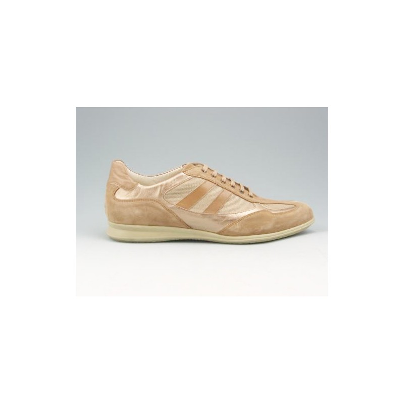 Sportshoe with laces in beige suede and fabbric - Available sizes: 51