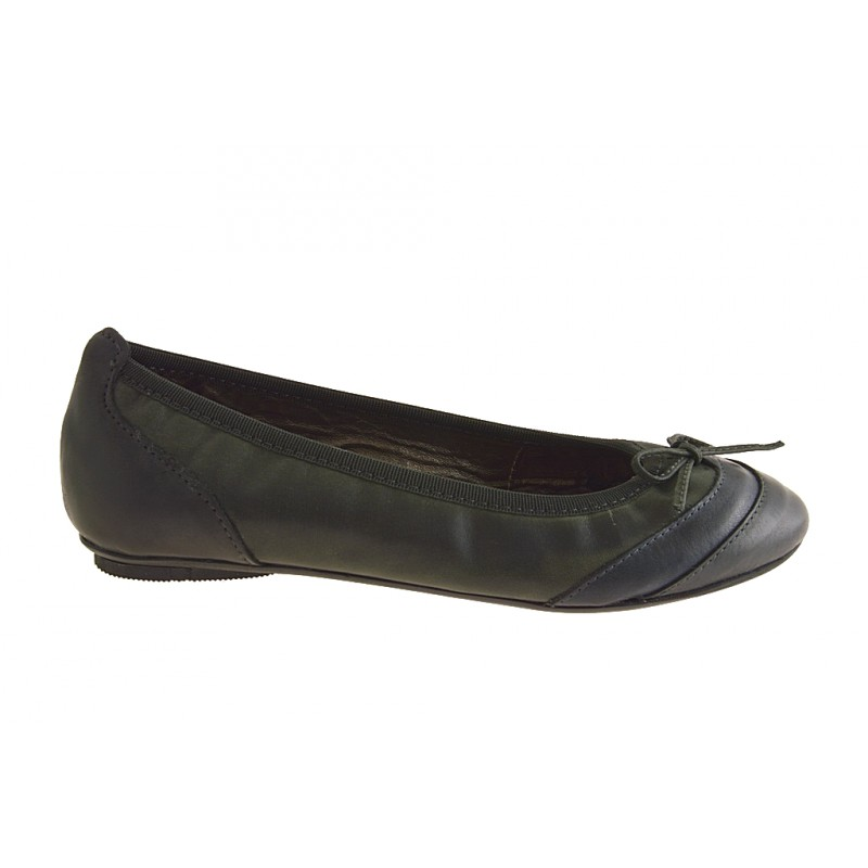 Woman's ballerina with bow in black, blue and grey leather heel 1 - Available sizes:  32