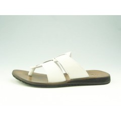 Men's flip-flop in white leather - Available sizes:  47