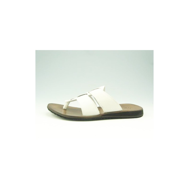 Men's flip-flop mules in white leather - Available sizes:  47