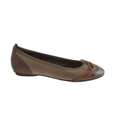 Ballerina in pelle marrone+cuoio+taupe - Misure disponibili: 32