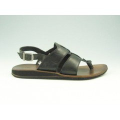 Flip-flop sandal for men in black leather - Available sizes:  47
