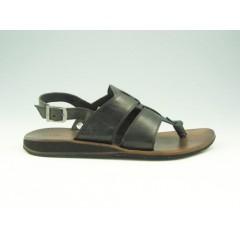 Sandalia infradito en piel de color negro - Tallas disponibles:  47