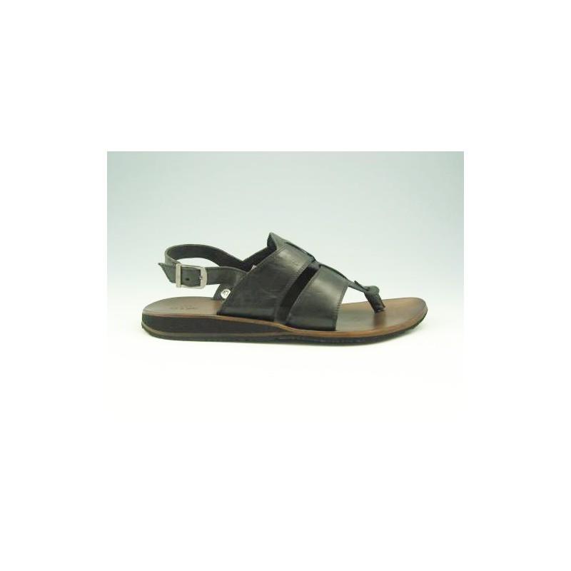 Sandale entredoigt pour hommes en cuir noir - Pointures disponibles:  47