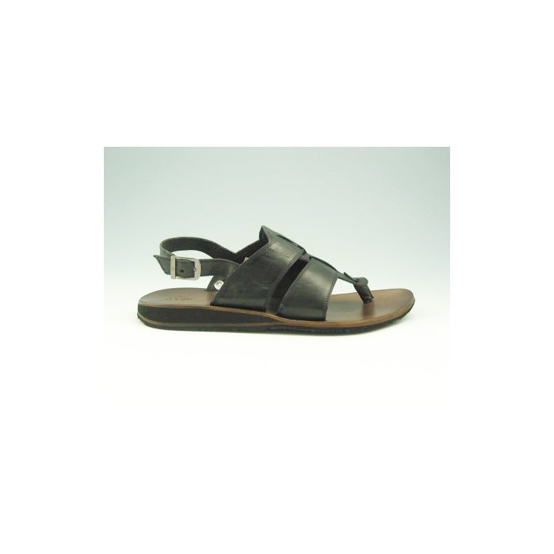 Sandalia de dedo para hombre en piel de color negro - Tallas disponibles:  47
