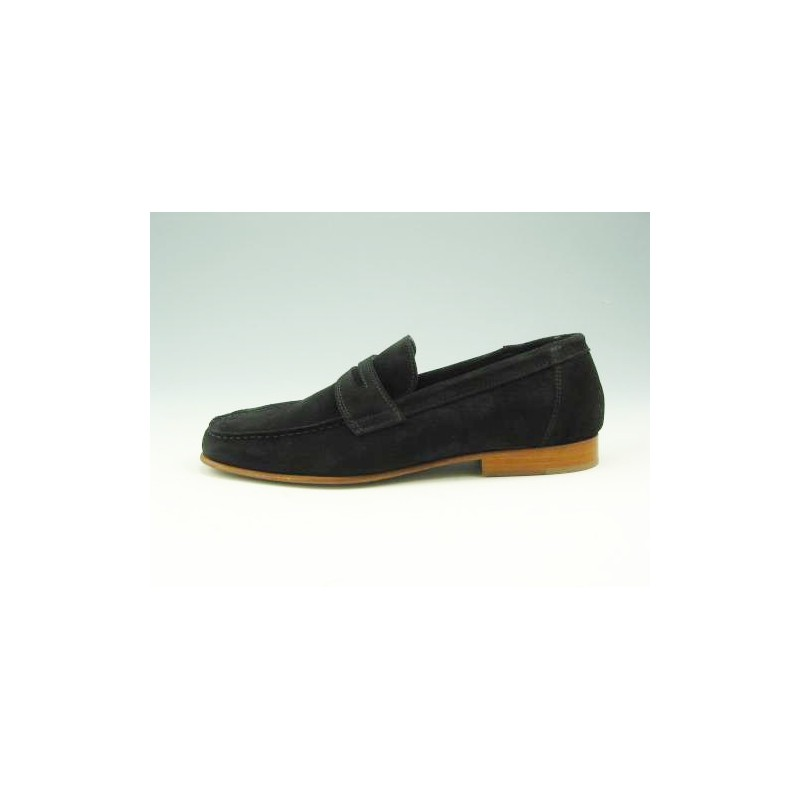 Men's loafer in black suede - Available sizes:  36, 39, 52