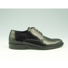 Men's elegant laced derby shoe in black leather - Available sizes:  51, 52