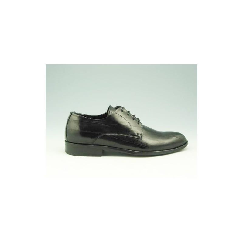 Chaussure derby élégant à lacets pour hommes en cuir noir - Pointures disponibles:  51, 52