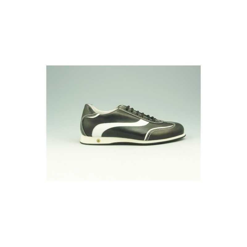 Chaussure à lacets pour hommes en cuir noir et blanc - Pointures disponibles:  36