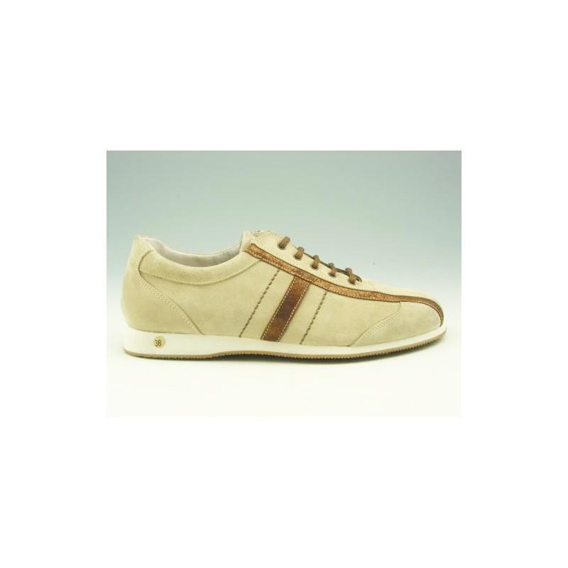 Chaussure à lacets pour hommes en daim beige et bronze - Pointures disponibles:  37