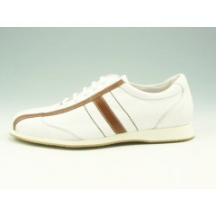 Men's laced sports shoe in white and light brown leather  - Available sizes:  36