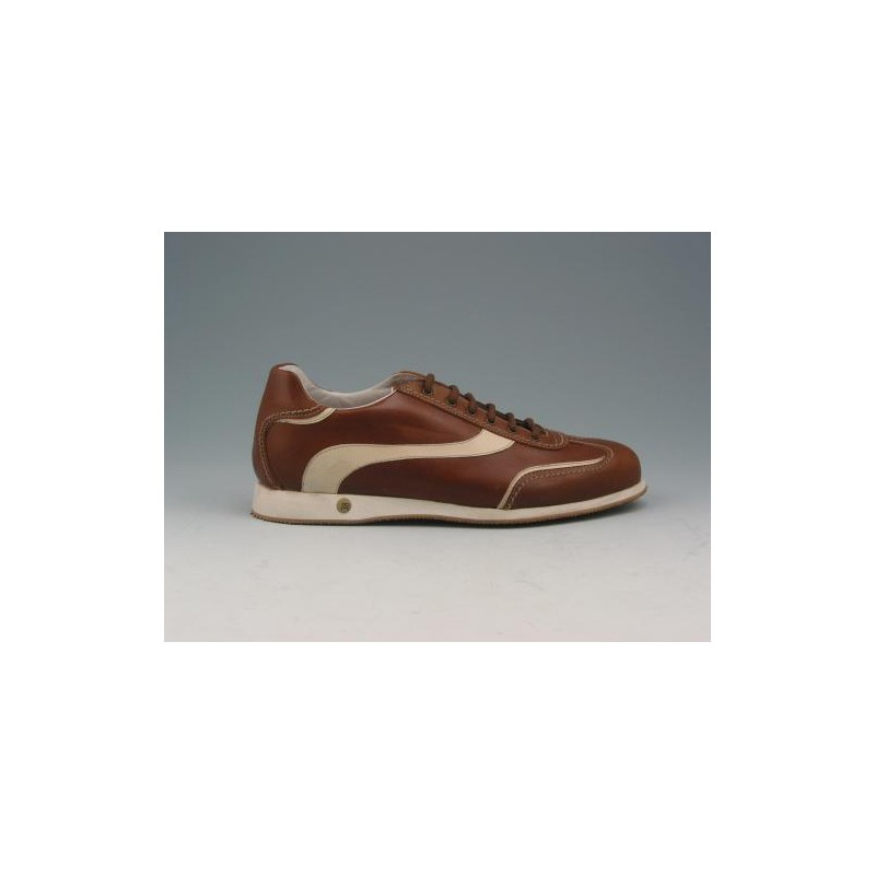 Men's laced sports shoe in brown and beige leather - Available sizes:  36