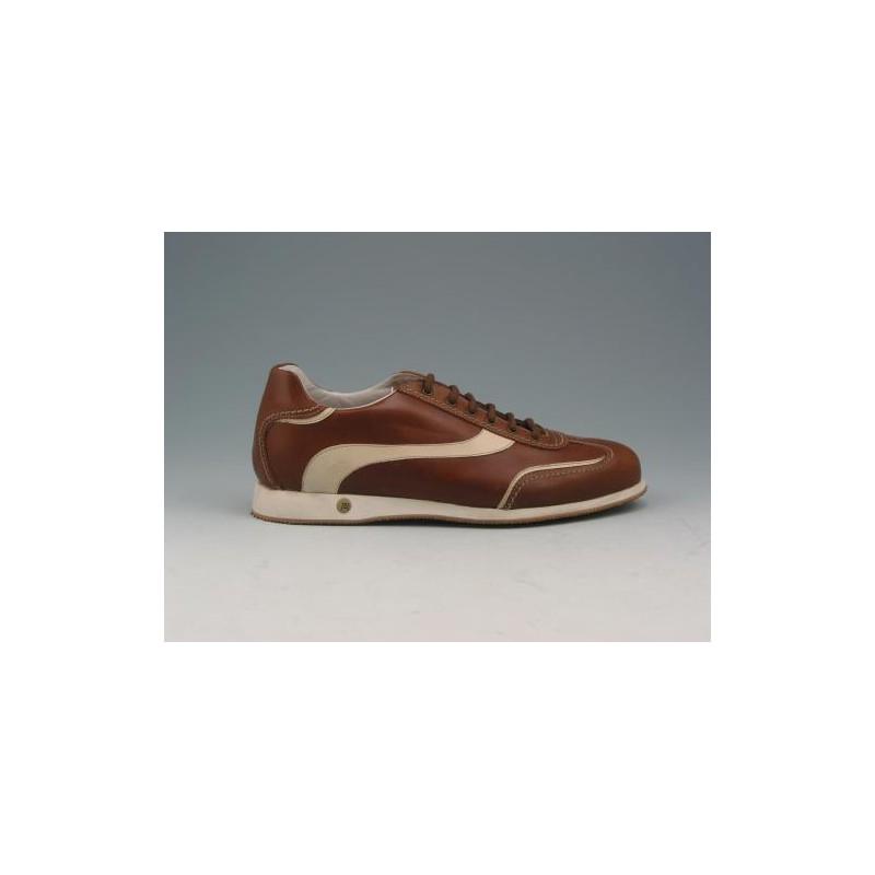 Zapato con cordones para hombre en piel cuero y beis - Tallas disponibles:  36