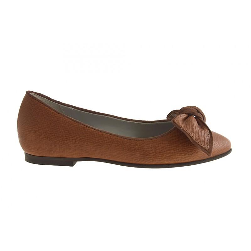 Ballerine pour femmes avec noeud en cuir brun clair talon 1 - Pointures disponibles:  32