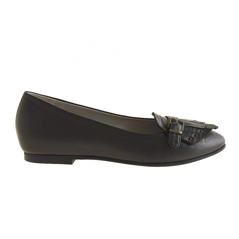 Mocassin pour femmes avec franges et boucle en cuir noir talon 1 - Pointures disponibles:  32