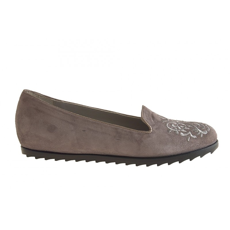 High ankle closed shoe in gray suede with embroidery, silver - Available sizes:  32