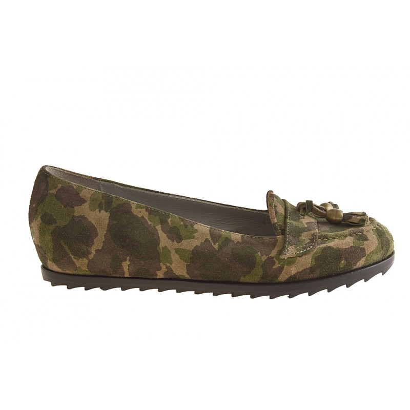 High ankle closed shoe with bow suede army green - Available sizes: 32