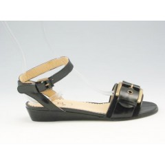 Sandal with strap and buckle in black leather wedge heel 3 - Available sizes:  31