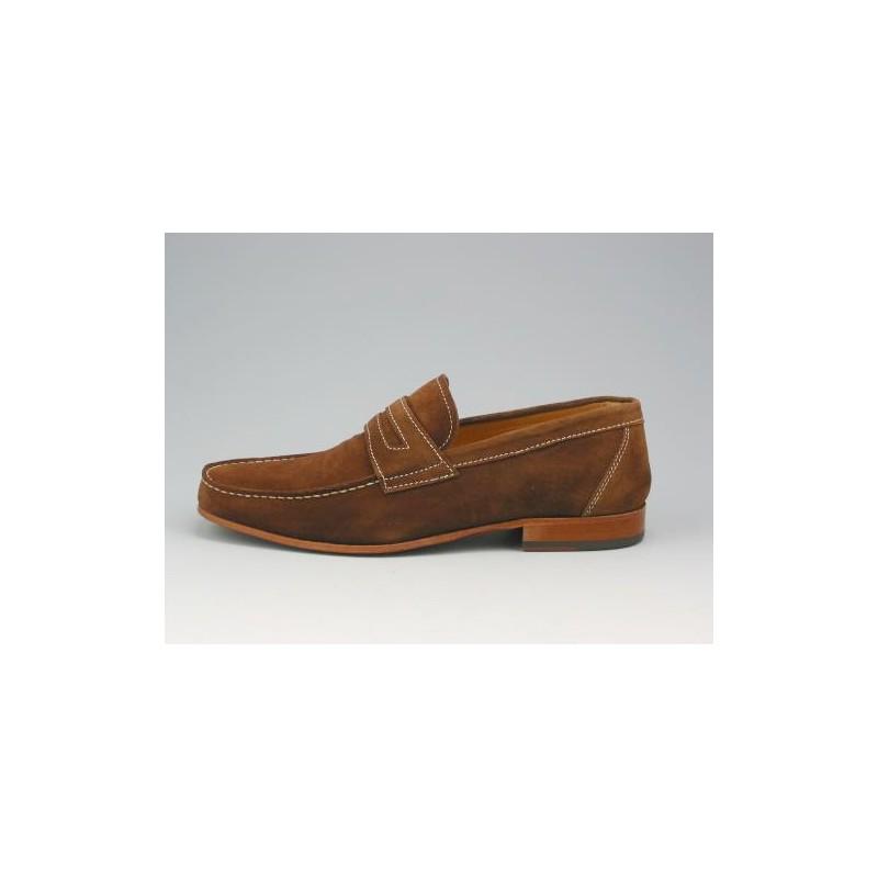 brun en suède mocassin coutures clair - Pointures disponibles:  40, 41, 43, 45, 52