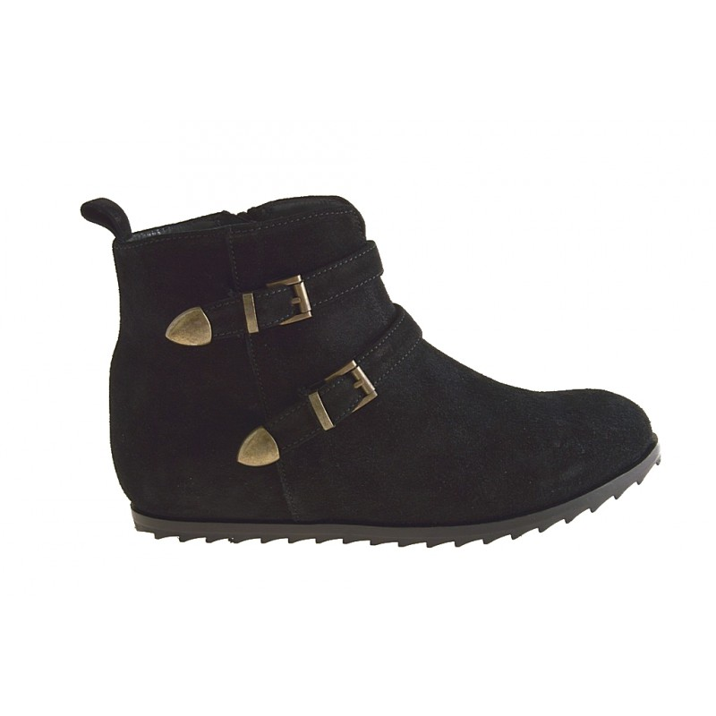Woman's ankle boot with zipper and two buckles in black suede wedge heel 1 - Available sizes:  32