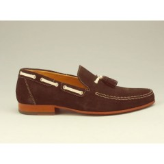 Men's mocassin with tassels in brown suede - Available sizes:  36, 37, 38, 39, 40, 45, 52