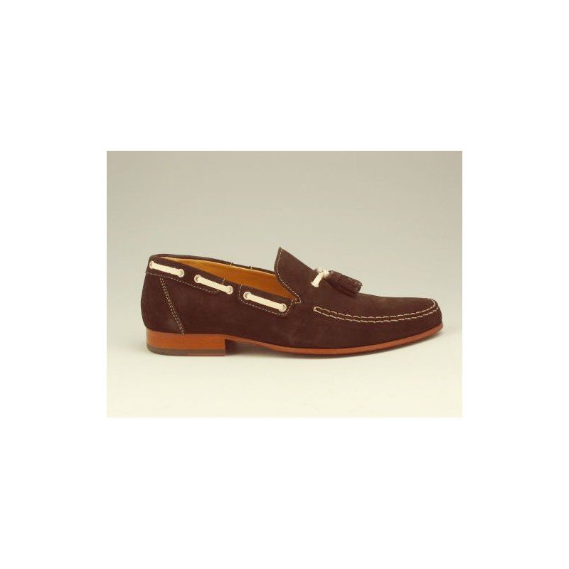 Men's loafer with tassels in brown suede - Available sizes:  36, 37, 38, 39, 40, 45, 52