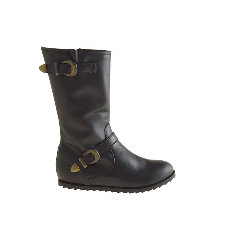 ankle boot with zip in black leather - Available sizes:  33