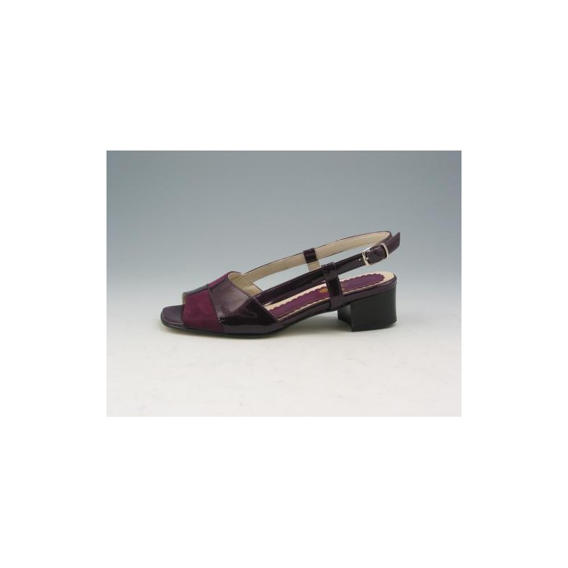 Comfort sandal in purple suede and patent leather - Available sizes: 31