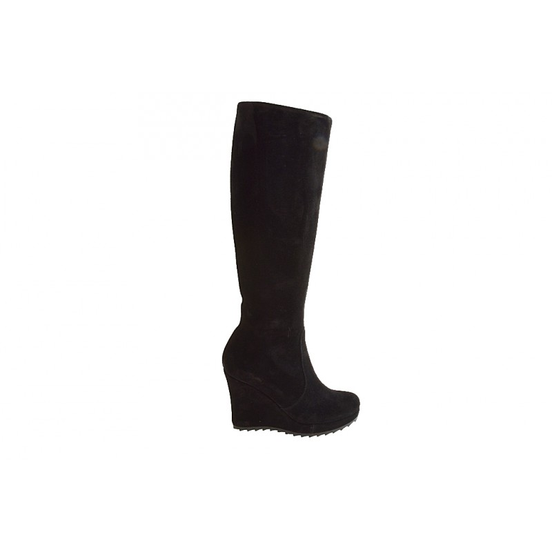 Woman's boot with zipper and platform in black suede wedge heel 9 - Available sizes:  42