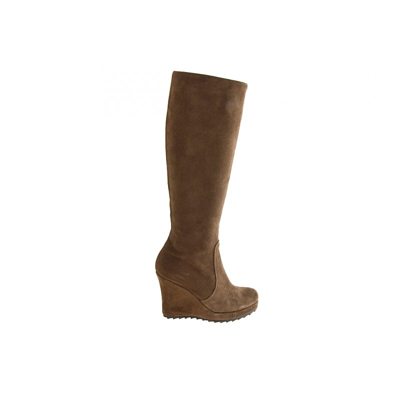 Woman's boot with zipper and platform in taupe suede wedge heel 9 - Available sizes:  42