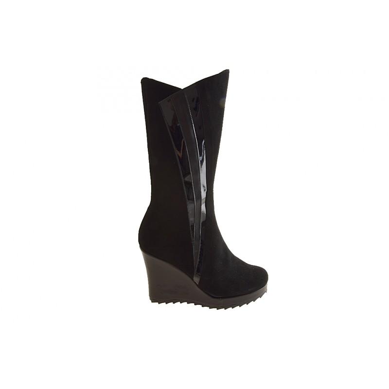 Damenstiefel mit Reißverschluss aus schwarzem Wild-, Lackleder und Leder Keilabsatz 9 - Verfügbare Größen:  42