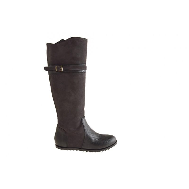 Damenstiefel mit Reißverschluß und Schnalle aus schwarzem Leder und grauem Wildleder Keilabsatz 1 - Verfügbare Größen:  32