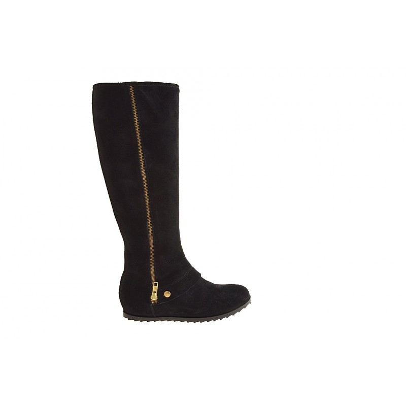 Boot with zipper in black suede - Available sizes:  32, 34