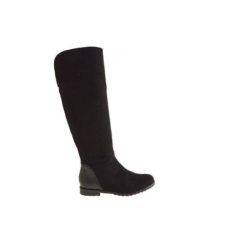Bottes au genoux pour femmes avec fermeture éclair en daim et cuir noir talon 1 - Pointures disponibles:  32