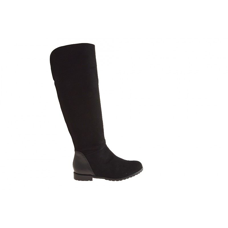 Knee-high woman's boot with zipper in black suede and leather heel 1 - Available sizes:  32