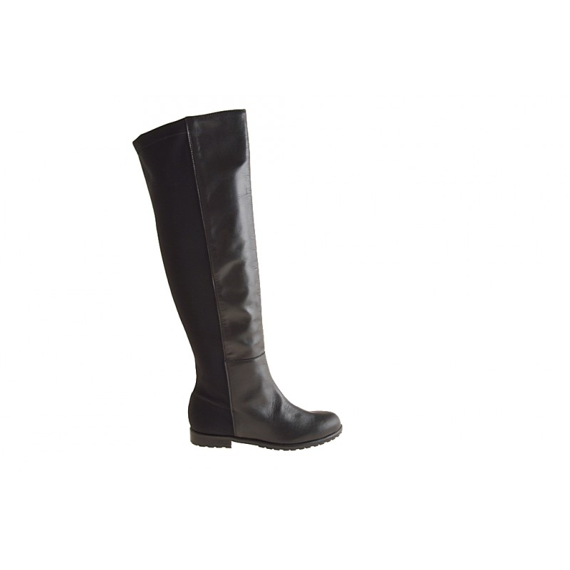 Woman's boot with zipper in black leather and elastic fabric heel 1 - Available sizes:  32
