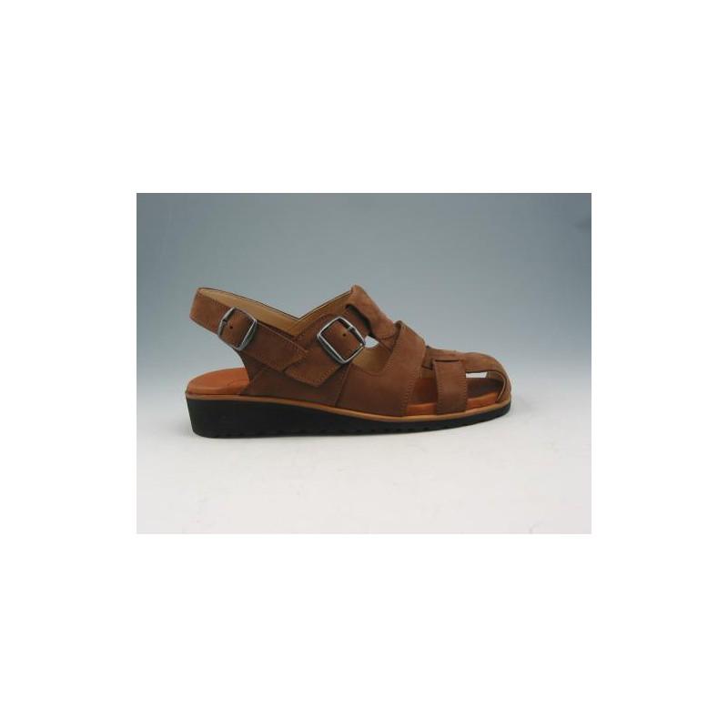 Sandalo in nabuk marrone chiaro -