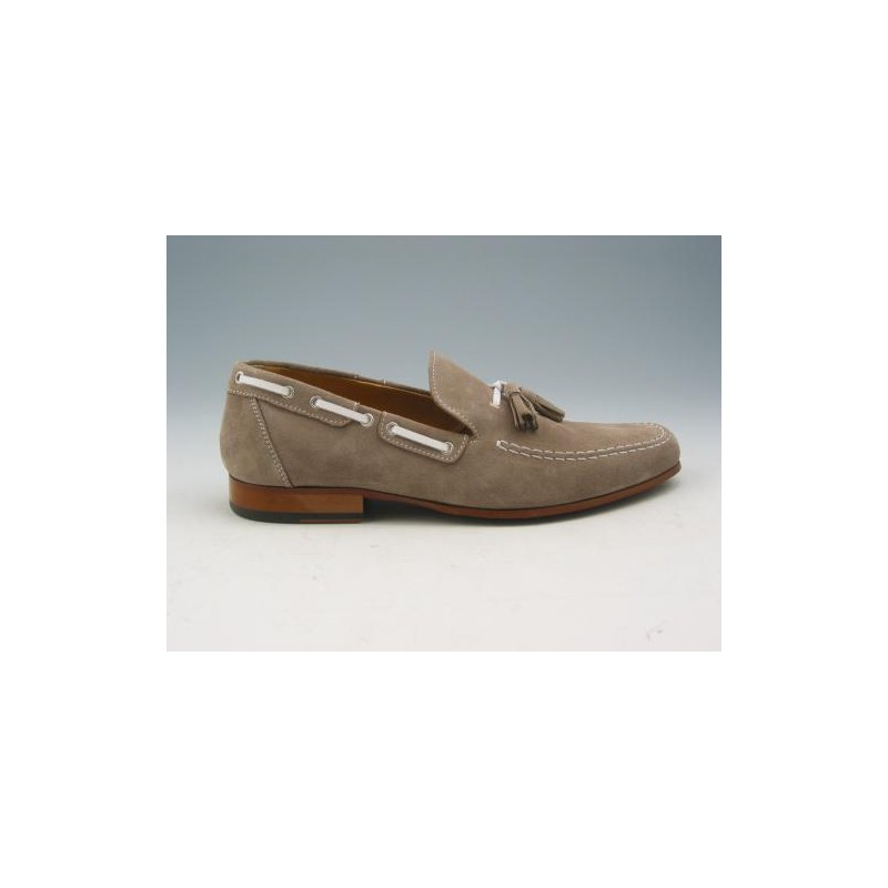 Men's loafer with tassels in sandbeige suede - Available sizes:  38, 39, 52