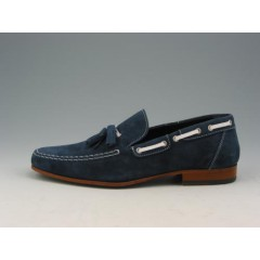 Men's mocassin with tassels in blue suede - Available sizes:  38, 40