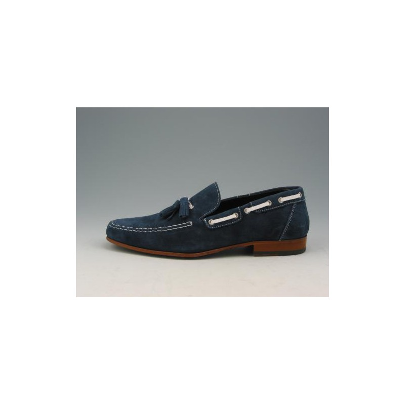 Men's mocassin with tassels in blue suede - Available sizes:  36, 38, 40