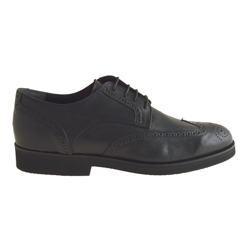 Chaussures fermées avec lacets en cuir noir - Pointures disponibles:  50
