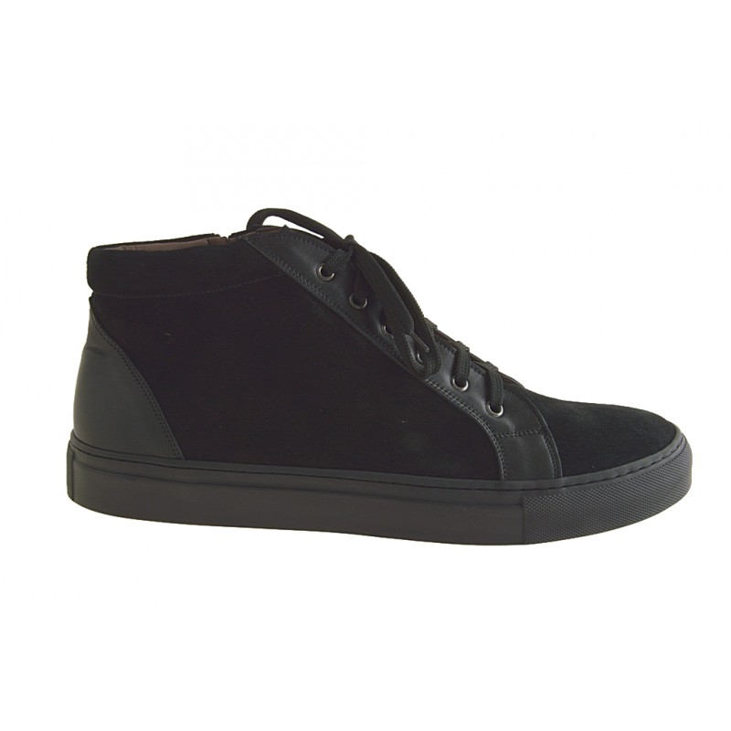 Bottine avec lacets en cuir velours, noir - Pointures disponibles:  47