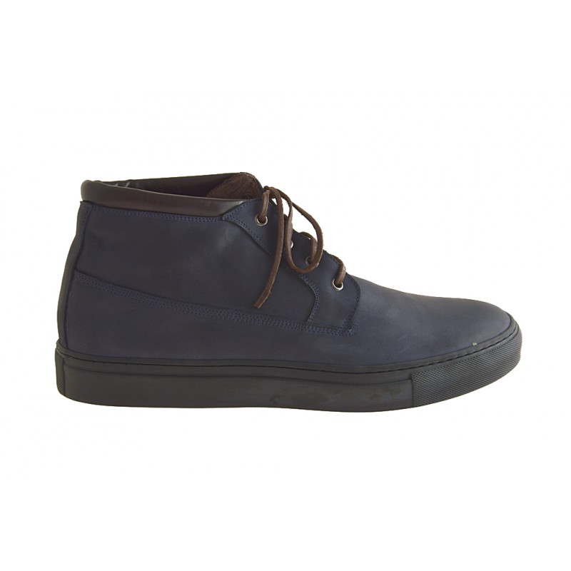 Laced ankle shoe boot in blue and brown leather  - Available sizes:  47