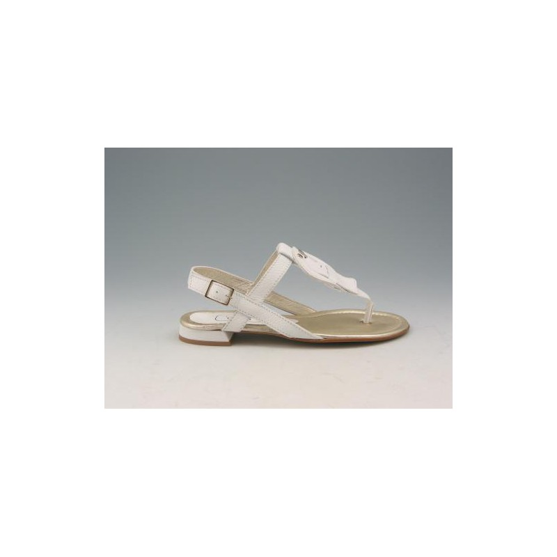 Flip-flop sandal in white leather heel 1 - Available sizes:  32