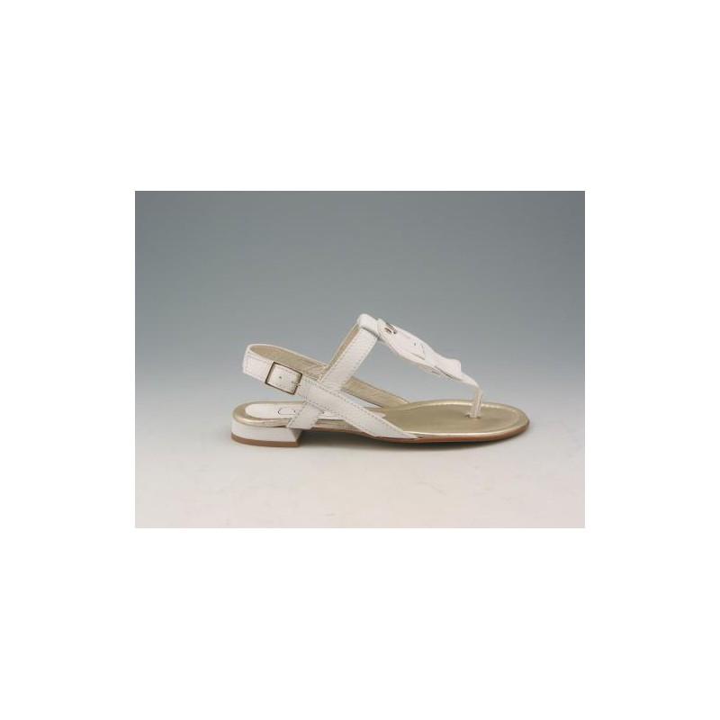 Sandale entredoigt en cuir blanc talon 1 - Pointures disponibles:  32