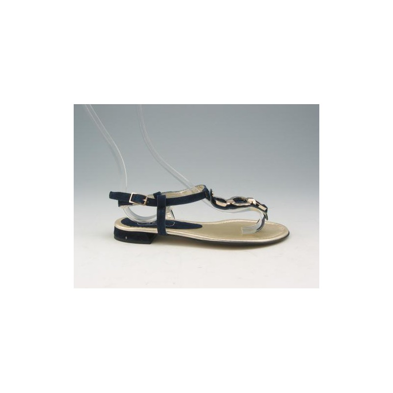 Flipflop sandal with accessory in navy suede heel 1 - Available sizes:  32