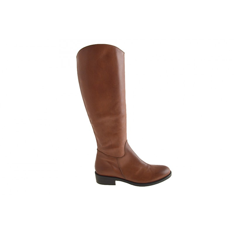 Boot with zipper in tan leather - Available sizes:  32