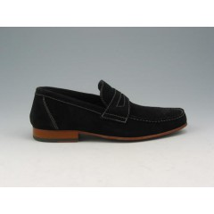 MOcassin in black suede - Available sizes:  38, 40, 45, 52